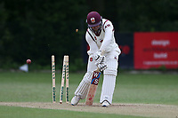 A West of Brentwood is bowled out by E Kalley during Wanstead and Snaresbrook CC (fielding) vs Brentwood CC, Hamro Foundation Essex League Cricket at Overton Drive on 19th June 2021