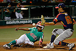 July 25, 2015 : Hans Chacon (14) of Mexico steals home plate as Rui Nakayama (12) of Japan is unable to catch the ball during the second inning in the game between Mexico and Japan during the Cal Ripken World Series at the Ripken Experience powered by Under Armour in Aberdeen, Maryland. Jon Durr/Ripken Baseball/CSM