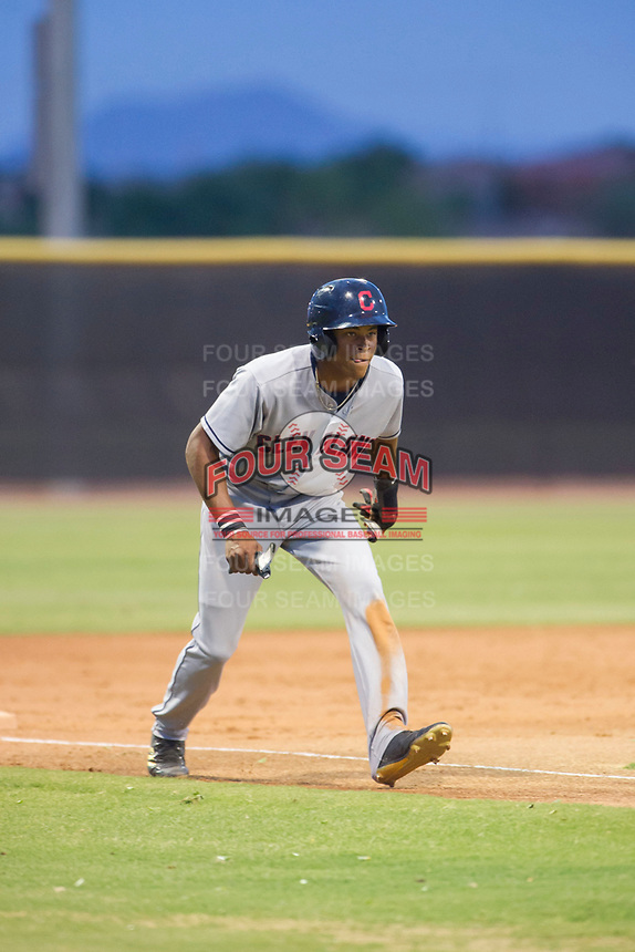 AZL Indians center fielder Quentin Holmes (70) takes his lead off of third base against the AZL Padres on August 28, 2017 at the San Diego Padres Spring Training Complex in Peoria, Arizona. AZL Padres defeated the AZL Indians 7-4. (Zachary Lucy/Four Seam Images)
