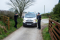 Pictured: Police at the house of Janet Ajao, mother of Khalid Masood in Trelech, Carmarthenshire, Wales, UK. 28 March 2017<br /> Re: Janet Ajao, the mother of Khalid Masood, who was responsible for the terrorist attack in London's house in Trelech, Carmarthenshire, UK