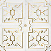 Jardin de Versailles, a waterjet stone mosaic, shown in polished Calacatta Gold and Brass, is part of the Jardins Français™ collection by Caroline Beaupere for New Ravenna.