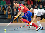 GER - Mannheim, Germany, November 28: During the 1. Bundesliga Sued Herren indoor hockey match between Mannheimer HC (red) and TG Frankenthal (white) on November 28, 2015 at Irma-Roechling-Halle in Mannheim, Germany. Final score 7-7 (HT 3-3). (Photo by Dirk Markgraf / www.265-images.com) *** Local caption *** Patrick Harris #17 of Mannheimer HC, Can Yurtseven #29 of TG Frankenthal