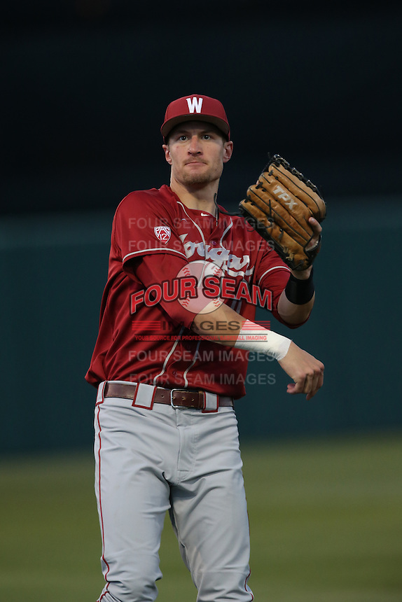 Ben Roberts (11) of the Washington State Cougars throws between innings during a game against the Southern California Trojans at Dedeaux Field on March 13, 2015 in Los Angeles, California. Southern California defeated Washington State, 10-3. (Larry Goren/Four Seam Images)