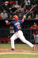 Memphis Redbirds designated hitter Oscar Taveras (15) hits a home run during a game against the Oklahoma City RedHawks on May 23, 2014 at AutoZone Park in Memphis, Tennessee.  Oklahoma City defeated Memphis 12-10.  (Mike Janes/Four Seam Images)