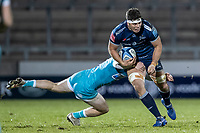 8th January 2021; AJ Bell Stadium, Salford, Lancashire, England; English Premiership Rugby, Sale Sharks versus Worcester Warriors; Jono Ross of Sale Sharks is tackled