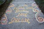 """Royal May Day Knutsford, Cheshire, England. 1973. Sand Painting out side Knutsford pub.  It reads """"Long Live Our Royal May Queen."""""""