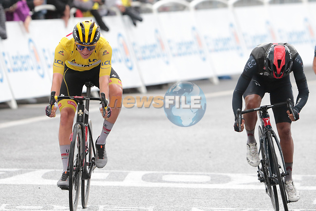 Richard Carapaz (ECU) Ineos Grenadiers and race leader Tadej Pogacar (SLO) UAE Team Emirates sprint for the finish line at the end of Stage 16 of the 2021 Tour de France, running 169km from Pas de la Case to Saint-Gaudens, Andorra. 13th July 2021.  <br /> Picture: Colin Flockton | Cyclefile<br /> <br /> All photos usage must carry mandatory copyright credit (© Cyclefile | Colin Flockton)