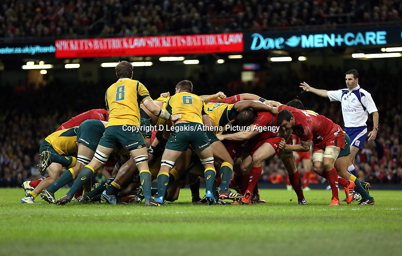 Pictured: A scrum against Wales and Australia. Saturday 08 November 2014<br /> Re: Dove Men Series rugby, Wales v Australia at the Millennium Stadium, Cardiff, south Wales, UK.