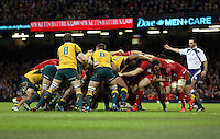 Pictured: A scrum against Wales and Australia. Saturday 08 November 2014<br />