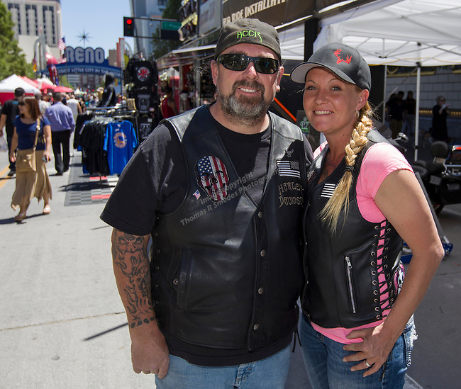 Chris and Michelle from Fernley during the Street Vibrations Spring Rally in Downtown Reno on Saturday, June 2 , 2018