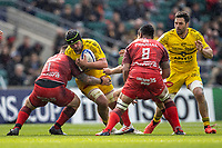 22nd May 2021; Twickenham, London, England; European Rugby Champions Cup Final, La Rochelle versus Toulouse; Gregory Alldritt of La Rochelle is tackled by Cyril Baille of Toulouse