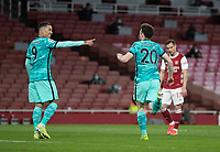 April 3rd 2021; Emriates Stadium, London, England;  Liverpools Diogo Jota celebrates after scoring the first goal on 64 minutes with teammate Roberto Firmino L during the Premier League match between Arsenal and Liverpool at the Emirates Stadium in London