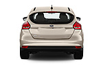 Straight rear view of 2018 Ford Focus SE 5 Door Hatchback Rear View  stock images
