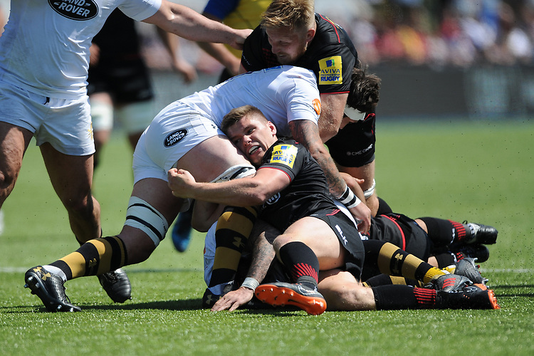 Owen Farrell of Saracens in action during the Aviva Premiership Rugby semi final match between Saracens and Wasps at Allianz Park on Saturday 19th May 2018 (Photo by Rob Munro/Stewart Communications)