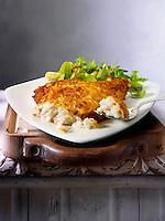 Lightly battered plaice & Salad food