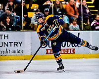 26 January 2019: Merrimack College Warrior Forward Forward Chase Gresock, a Freshman from Powell, Ohio, in first period action against the University of Vermont Catamounts at Gutterson Fieldhouse in Burlington, Vermont. The Warriors fell to the Catamounts 4-3 in overtime after tying up the game in the dyeing seconds of the third period of their America East conference game. Mandatory Credit: Ed Wolfstein Photo *** RAW (NEF) Image File Available ***