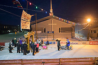 Geir Idar Hjelvik crosses the finish line in Nome arriving in 45th place during the 2017 Iditarod on Friday March 17, 2017.<br /> <br /> Photo by Jeff Schultz/SchultzPhoto.com  (C) 2017  ALL RIGHTS RESERVED