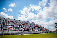 Jul 12, 2020; Clermont, Indiana, USA; Overall view of NHRA social distancing in the grandstands during the E3 Spark Plugs Nationals at Lucas Oil Raceway. This is the first race back for NHRA since the start of the COVID-19 global pandemic. Mandatory Credit: Mark J. Rebilas-USA TODAY Sports