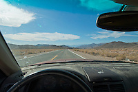 Driver's eye view of the west side of Salsberry Pass, Death Valley National Park, California