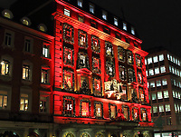London's upmarket department store Fortnum & Mason in Piccadilly has been transformed into a giant advent calender this christmas. Its iconic facade is bathed in red with its windows decorated and numbered like a traditional advent calender. Its window displays are also some of the best in the capital for the festive season. December 17th 2019<br /> <br /> Photo by Keith Mayhew