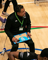 Creon Raftopoulos head coach of Surrey Scorchers talks to the players during a time out during the BBL Championship match between Surrey Scorchers and Newcastle Eagles at Surrey Sports Park, Guildford, England on 20 March 2021. Photo by Liam McAvoy.