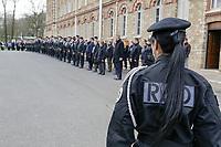 BIEVRES , ETAT MAJOR DU RAID LE 21 / 03 / 2017<br /> PASSATION DE COMMANDEMENT DU RAID , UNITE D ELITE DE LA POLICE NATIONALE .<br /> JEAN BAPTISTE DULION SUCCEDE A JEAN MICHEL FAUVERGUE .<br /> ILLUSTRATION FEMME DANS LES RANGS DU RAID . .