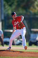 Triston Smith during the WWBA World Championship at the Roger Dean Complex on October 21, 2018 in Jupiter, Florida.  Triston Smith is a right handed pitcher from Nacogdoches, Texas who attends Nacogdoches High School and is committed to Houston.  (Mike Janes/Four Seam Images)