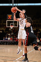 STANFORD, CA - NOVEMBER 26: Jeanette Pohlen of Stanford women's basketball shoots from beyond the 3-point line in a game against South Carolina on November 26, 2010 at Maples Pavilion in Stanford, California.  Stanford topped South Carolina, 70-32.