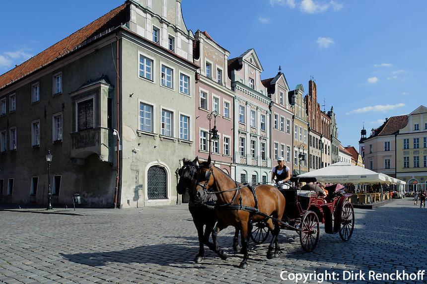 Pferdekutsche am alten Marktplatz (Stary Rynek) in Posnan (Posen), Woiwodschaft Großpolen (Województwo wielkopolskie), Polen Europa<br /> Carriage at Old Market Place (Stary Rynek) in Pozan, Poland, Europe