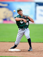 Jamestown Jammers second baseman Yefri Perez #18 during practice before a game against the Batavia Muckdogs at Dwyer Stadium on June 22, 2012 in Batavia, New York.  Jamestown defeated Batavia 7-5.  (Mike Janes/Four Seam Images)