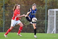 Talitha De Groote (20 Brugge) pictured with Davinia Vanmechelen  of Standard (25) during a female soccer game between Standard Femina de Liege and Club Brugge YLA on the seventh matchday of the 2020 - 2021 season of Belgian Scooore Womens Super League , saturday 14 th of November 2020  in Angleur , Belgium . PHOTO SPORTPIX.BE | SPP | DAVID CATRY