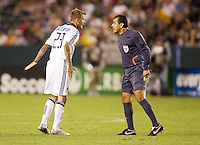 LA Galaxy midfielder David Beckham and referee Baldomero Toledo have a heated discussion. The LA Galaxy defeated Chivas USA 1-0 to win the final edition of the 2009 SuperClásico at Home Depot Center stadium in Carson, California on Saturday, August 29, 2009...