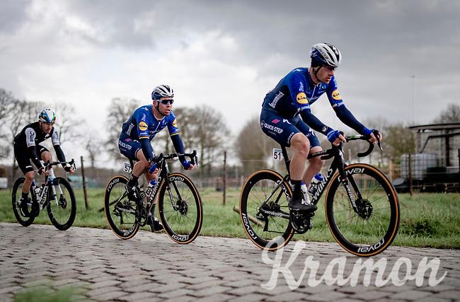 Mark Cavendish (GBR/Deceuninck - Quick Step) tailing Sam Bennett (IRE/Deceuninck - Quick Step)<br /> <br /> 109th Scheldeprijs 2021 (ME/1.Pro)<br /> 1 day race from Terneuzen (NED) to Schoten (BEL): 194km<br /> <br /> ©kramon