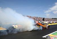 Mar 15, 2015; Gainesville, FL, USA; NHRA funny car driver Alexis DeJoria during the Gatornationals at Auto Plus Raceway at Gainesville. Mandatory Credit: Mark J. Rebilas-