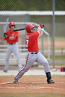 Washington Nationals Sheldon Neuse (17) follows through on a swing during a minor league Spring Training game against the St. Louis Cardinals on March 27, 2017 at the Roger Dean Stadium Complex in Jupiter, Florida.  (Mike Janes/Four Seam Images)