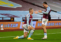 4th October 2020, Villa Park, Birmingham, England;  Aston Villas Ross Barkley celebrates after scoring his goal with teammate Jack Grealish in the 55th minute during the English Premier League match between Aston Villa and Liverpool at Villa Park