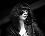 Joey Ramone of the Ramones is onstage at CBGB in New York City in February 1977.
