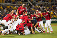 Stony Brook Seawolves celebration following the NCAA Super Regional baseball game against LSU on June 10, 2012 at Alex Box Stadium in Baton Rouge, Louisiana. Stony Brook defeated LSU 7-2 to advance to the College World Series. (Andrew Woolley/Four Seam Images)