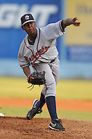 Rome Braves starting pitcher Carlos Perez #37 delivers a pitch during a game against the Asheville Tourists at McCormick Field, Asheville, North Carolina April 19, 2012. The Tourists won the game 10-6  (Tony Farlow/Four Seam Images)..