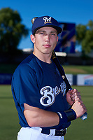 AZL Brewers Blue Darrien Miller (51) poses for a photo before an Arizona League game against the AZL Athletics Gold on July 2, 2019 at American Family Fields of Phoenix in Phoenix, Arizona. AZL Athletics Gold defeated the AZL Brewers Blue 11-8. (Zachary Lucy/Four Seam Images)