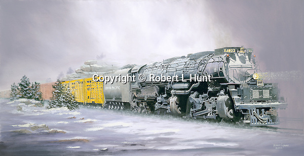 """Union Pacific """"Big Boy"""" steam locomotive hauling a heavy freight train crests a western mountain pass surrounded by snow and fog. Oil on canvas, 19"""" x 36""""."""