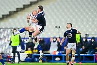 26th March 2021, Stade de France, Saint-Denis, France; Guinness 6-Nations international rugby, France versus Scotland;  Gael Fickou (Fra) challenges Stuart Hogg (Sco) in the line out