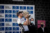 race winner Sonny Colbrelli (ITA/Bahrain-Victorius)<br /> <br /> 118th Paris-Roubaix 2021 (1.UWT)<br /> One day race from Compiègne to Roubaix (FRA) (257.7km)<br /> <br /> ©kramon