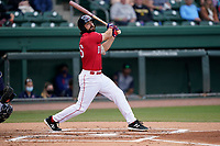 First baseman Devlin Granberg (26) of the Greenville Drive during a game against the Brooklyn Cyclones on Friday, May 14, 2021, at Fluor Field at the West End in Greenville, South Carolina. (Tom Priddy/Four Seam Images)