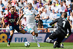 Theo Bernard Francois Hernandez Pi of Real Madrid (C) fights for the ball with Ivan Lopez Mendoza (L), and Raul Fernandez-Cavada Mateos of Levante UD (R) during the La Liga match between Real Madrid and Levante UD at the Estadio Santiago Bernabeu on 09 September 2017 in Madrid, Spain. Photo by Diego Gonzalez / Power Sport Images