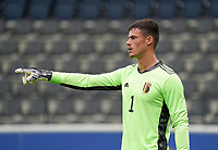 Belgium's goal keeper Mila Svilar points during a soccer game between the national teams Under21 Youth teams of Belgium and Germany on the 5th matday in group 9 for the qualification for the Under 21 EURO 2021 , on tuesday 8 th of September 2020  in Leuven , Belgium . PHOTO SPORTPIX.BE   SPP   SEVIL OKTEM