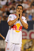 Mike Petke (12) of the New York Red Bulls reacts to a missed scoring oportunity. The Los Angeles Galaxy defeated the New York Red Bulls 3-1 during a Major League Soccer match at Giants Stadium in East Rutherford, NJ, on July 16, 2009.