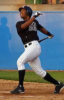 Third baseman Edwin Encarnacion (23) of the Potomac Cannons, a Cincinnati Reds farm team, taken May 28, 2003, at Pfitzner Stadium in Woodbridge, Virginia. (Tom Priddy/Four Seam Images)