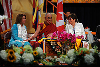 NEW YORK, NY - JULY 10: His Holiness the 14th Dalai Lama celebrated his 80th birthday in New York City by sharing a meditation for long life with crowds of followers who turned out for the ceremony at the Javits Convention Center on West 34th Street on July 10, 2015 in New York City.<br /> <br /> People:  Nancy Pelosi,The Dalai Lama, Valerie Jarrett