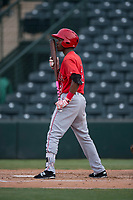 AZL Angels pinch hitter Drevian Williams-Nelson (2) kisses his bat during the completion of a suspended Arizona League game against the AZL Diamondbacks at Tempe Diablo Stadium on July 16, 2018 in Tempe, Arizona. The game was a continuation of the July 11, 2018 contest that was suspended by rain in the middle of the eighth inning. The AZL Diamondbacks defeated the AZL Angels 12-8. (Zachary Lucy/Four Seam Images)
